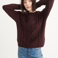 Womens Cable Crewneck Sweater | Womens Tops | Abercrombie.ca
