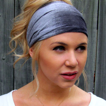 Velour Wide Headband Yoga Stretchy Headband Steel Gray Champagne Head Scarf Womens Wide Head Wrap Turband or CHOOSE Your Color