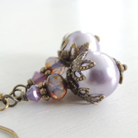 Victorian Wisteria Purple Earrings Vintage Inspired Misty Lavender Edwardian Downton Abbey Style Glass Pearl Drops Romantic Wedding Jewelry