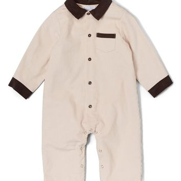 Beige & Brown Corduroy Playsuit - Infant