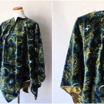 1950s Cape | 1950s Tapestry Cape | 1950s Floral Cape | 1950s Silk Cape | Vintage Cape | Vintage Tapestry Cape | 1950s Green Cape
