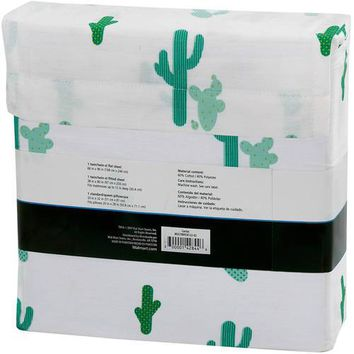 Mainstays 180 Thread Count Sheet Set, Cactus Pattern Multicolor Twin-XL