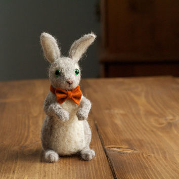 Autumn Rabbit with Rust Orange Bow Tie, Needle Felted Soft Sculpture, Felt Rabbit, Bunny, Grey, Miniature Rabbit, Fall, Woodland, Rustic