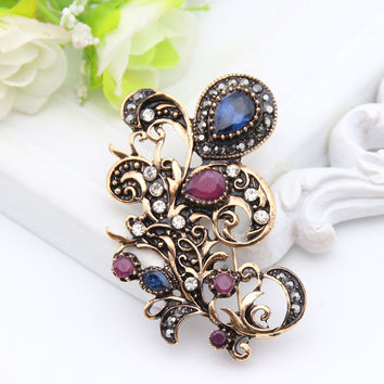 New Style Vintage Turkish Brooch Women Jewelry Retro Gold Plating Flower Sapphire Broches Brooch Ladies Lapel Hijab Corsage Pin