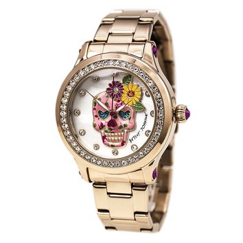 Betsey Johnson BJ00366-05 Women's Skull & Flower White MOP Dial Crystal Watch