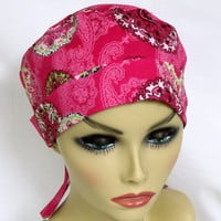 Mini Surgical Scrub Cap or Chemo Cap Serendipity Medallion Burst Paisley