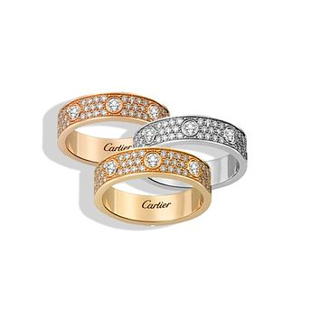 """Cartier"" Unisex More Rows Of Drill Diamond Ring Stars Couple Ring Accessories More Style More Diamond"