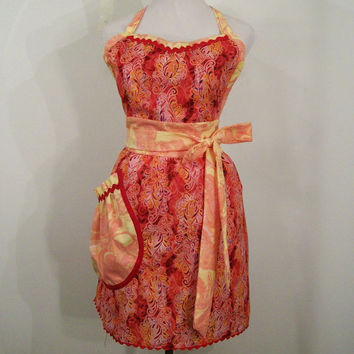 Woman's Sweetheart Apron--Red Peach---#161--