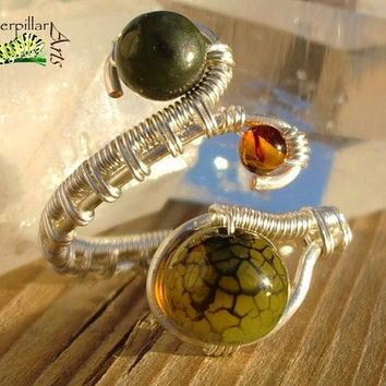 Nephrite Jade Genuine Baltic Amber Ring - Silver Plated Copper - Adjustable Wire Wrap Ring