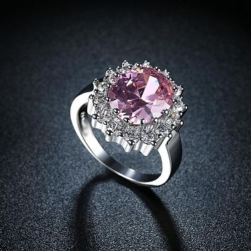 Pink Sapphire Blossoming Pav'e Ring in 18K White Gold 925 Sterling Silver Unique Casual Rings