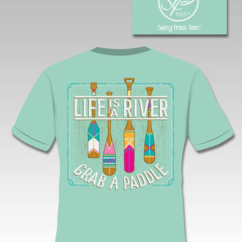SALE Sassy Frass Life is a River Grab a Paddle Comfort Colors Girlie Bright T Shirt