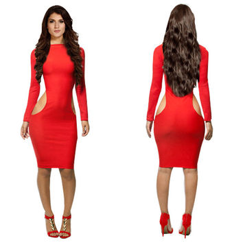 Red Long Sleeve Two Side Cut Out Bodycon Midi Dress