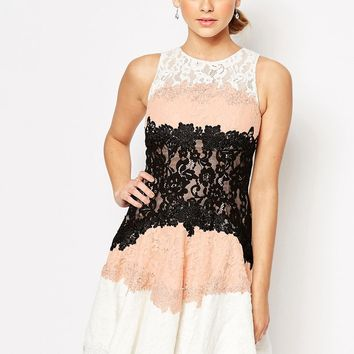 Forever Unique Three Tone Lace Dress In Fit And Flare