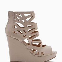 Ana 9 Caged Peep Toe Wedge