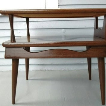 End Table, Two Tier, Vintage, Danish Modern, Mid Century Modern