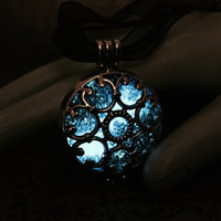 Glow In The Dark Galaxy Nebula Locket, Inspired by Window in The Crow, on Black Cord and Ribbon Necklace, Starry Night Scene, Milky Way