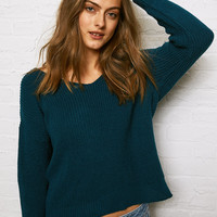 Don't Ask Why Knot Back Sweater, Teal
