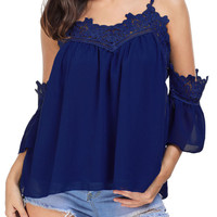 Blue Cold Shoulder Embroidered Accent Draped Top