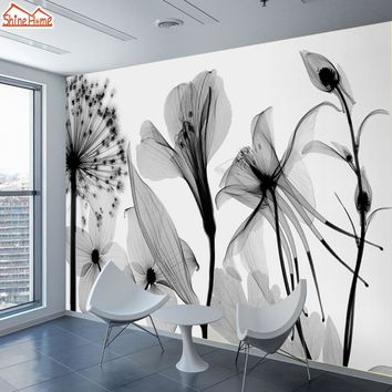 ShineHome-Custom Dandelion Chinese Ink Painting Nature Wallpapers 3 d Wall Paper Art Wallpaper Mural Roll for Living Room Walls