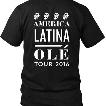 The Rolling Stones America Latina Ole Tour 2 Sided Black Mens T Shirt