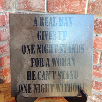 Custom Vinyl Lettering Real Man Tile Sign 12x12 - Black Vinyl - Man Cave Gift - Love - Valentine's Day