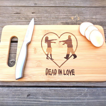 ZOMBIE CUTTING BOARD Engraved Cutting Board Bamboo 14 X 7.5  Zombies Cutting Board Zombie Apocalypse