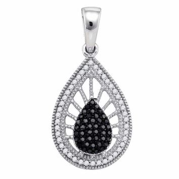 10kt White Gold Women's Round Black Color Enhanced Diamond Milgrain Teardrop Pendant 1-3 Cttw - FREE Shipping (US/CAN)