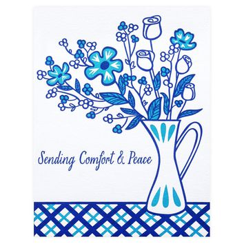 Blue Flowers Sympathy Card