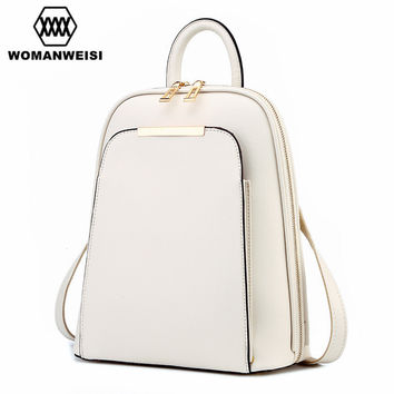 Fashion Simple Style Women Backpacks High Quality Leather School Bags Satchel Brand Design Female Backpack 2017 Rucksack Youth