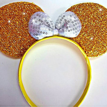 Minnie Mouse Ears Headband Gold Sparkle Pink Sequin Bow Mickey Mouse Ears, Disneyland