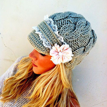 Lace Cable Knitted Hat Winter Cap Brimmed with Lace Flower