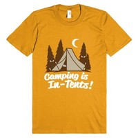 Camping Is In-Tents (White)-Unisex Mandarin Orange T-Shirt