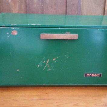 Vintage Green Lincoln Beautyware Bread Box