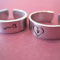 Personalized Rings Lock and Key Set Skinny Band by TesoroJewelry
