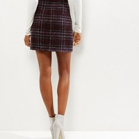 Burgundy Check Brushed Skirt