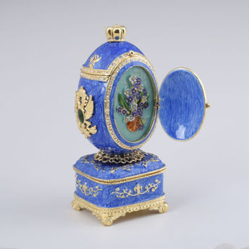 Blue Royal Faberge Egg Handmade Trinket Box by Keren Kopal Decorated with Swarovski Crystals