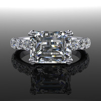 Emerald Cut Forever Brilliant Moissanite Engagement Ring 3.73 CT