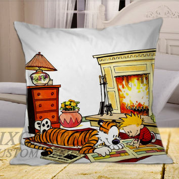 calvin and hobbes comics on Square Pillow Cover