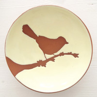 Ceramic Bowl, Small Pottery, Wheel Thrown Handbuilt, Bird on a Branch, Unique gift for Father's Day.