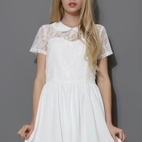 Perter Pan collar Lace Skater Dress in White