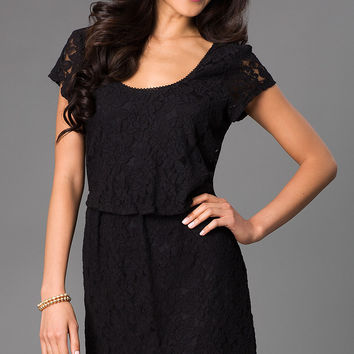 Short Black Lace Popover Dress