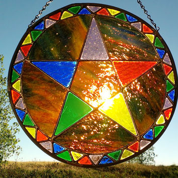 Stained Glass Wiccan Pentacle