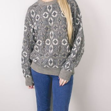 Vintage Gray Aztec Knit Sweater