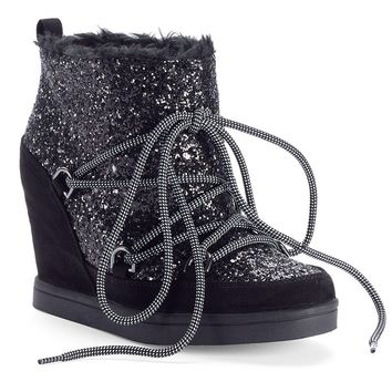 Juicy Couture Women's Lace-Up Wedge Sport Ankle Boots (Black)