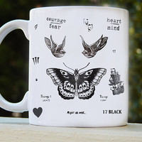 harry style one direction tattoo collage mug design by voocari