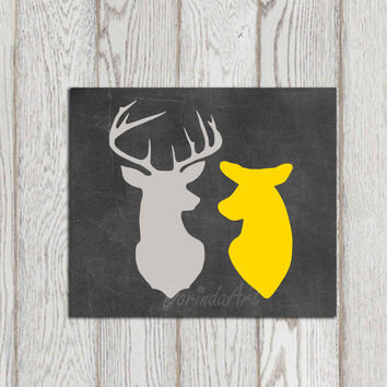 Deer printable decor Stag doe print Yellow gray home decor Chalkboard Deer couple Happy couple Anniversary print Wall art bedroom Gift idea