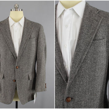 Vintage 1960s Blazer / 60s Jacket / Wool Sports Coat / Grey Herringbone Tweed / John Weitz / Mid Century Mad Men