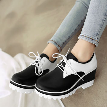 Round Toe Women Wedges Lace Up Platform Shoes
