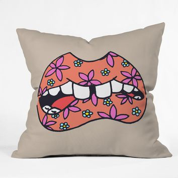 Wesley Bird Floral Lips Throw Pillow