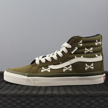 Vans X Wtaps Sk8 Hi Chukka Fashion Canvas Flats Sneakers Sport Shoes Brown